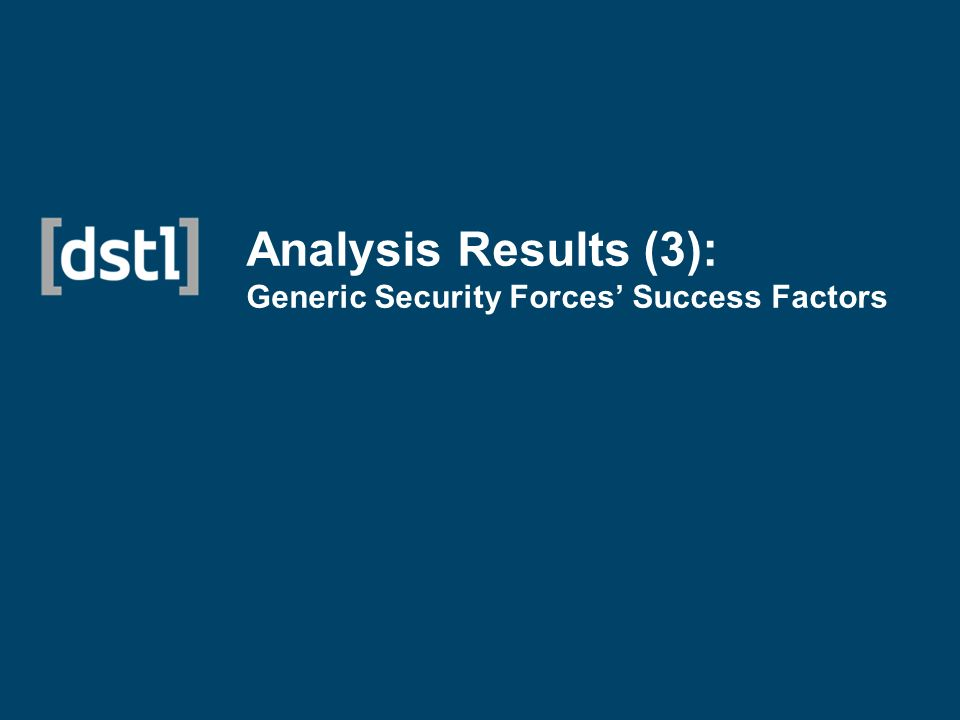 Analysis Results (3): Generic Security Forces Success Factors