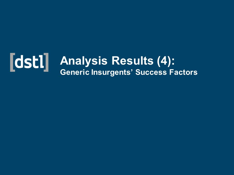 Analysis Results (4): Generic Insurgents Success Factors