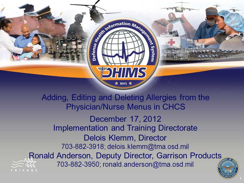 1 Adding, Editing and Deleting Allergies from the Physician/Nurse Menus in CHCS December 17, 2012 Implementation and Training Directorate Delois Klemm