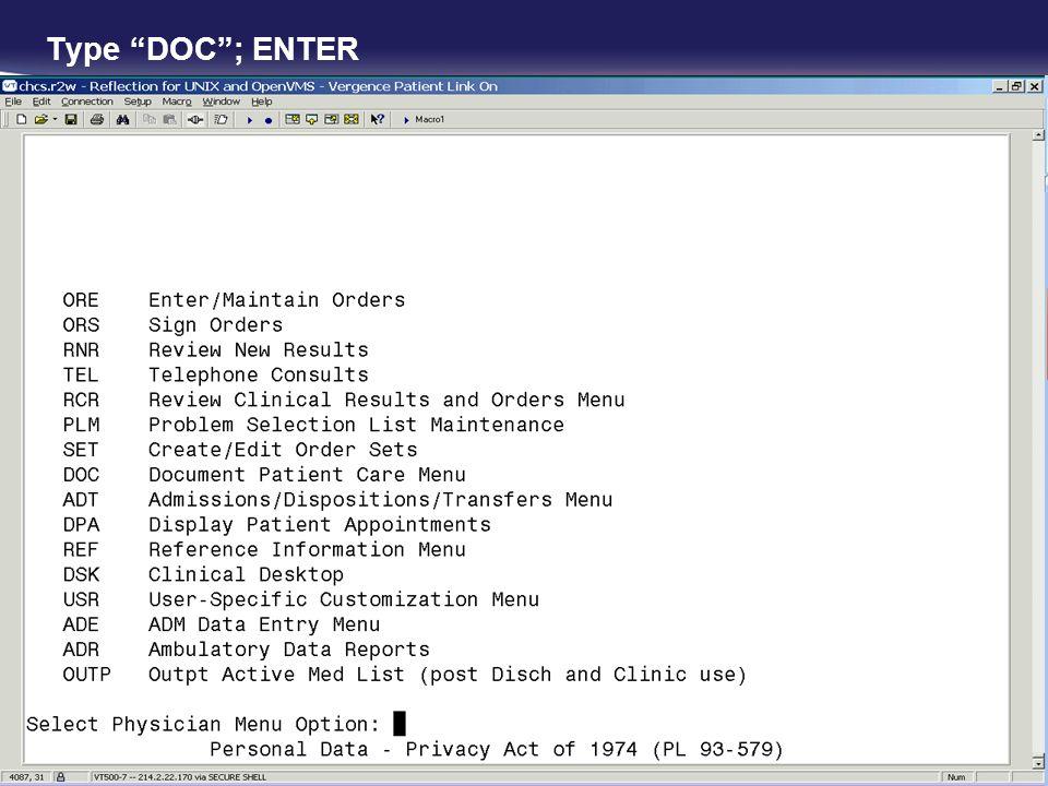 Type DOC; ENTER