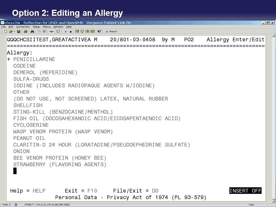 Option 2: Editing an Allergy