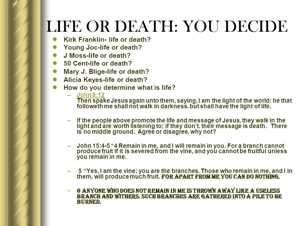 LIFE OR DEATH: YOU DECIDE Kirk Franklin- life or death? Young Joc-life or death? J Moss-life or death? 50 Cent-life or death? Mary J. Blige-life or de