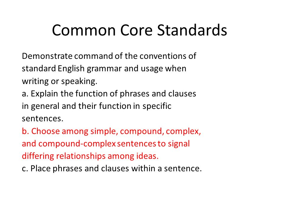 Common Core Standards Demonstrate command of the conventions of standard English grammar and usage when writing or speaking. a. Explain the function o