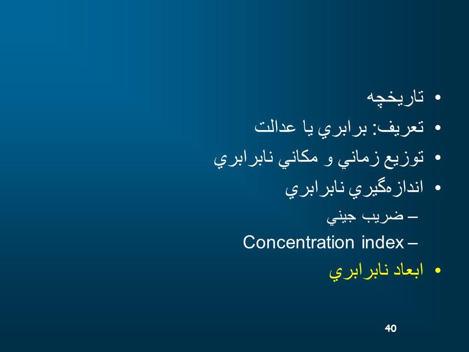 40 تاريخچه تعريف: برابري يا عدالت توزيع زماني و مكاني نابرابري اندازهگيري نابرابري –ضريب جيني –Concentration index ابعاد نابرابري