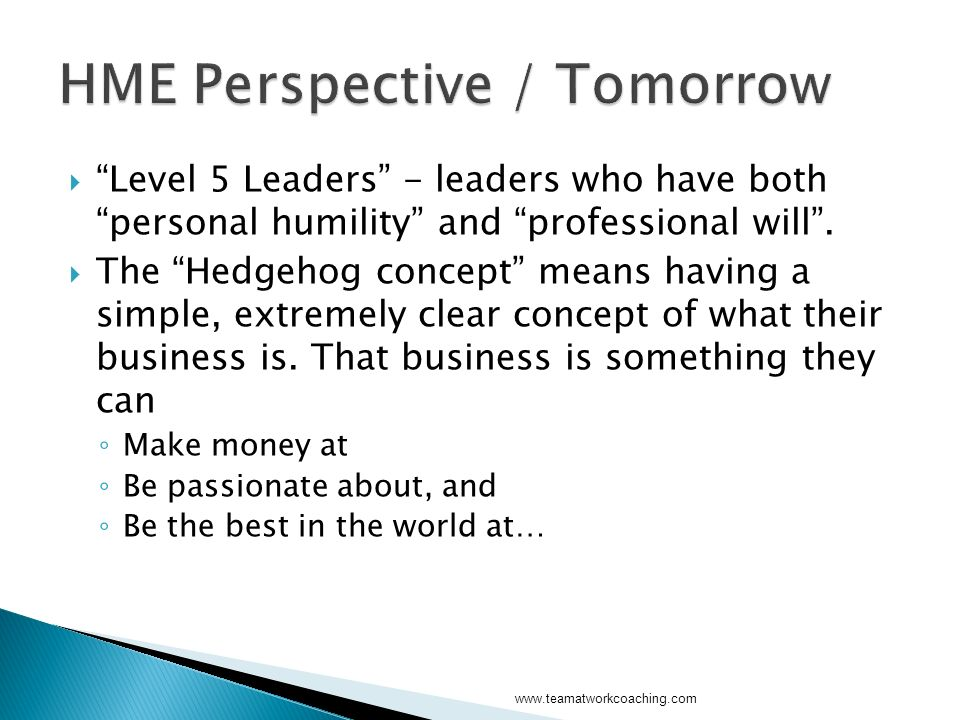 Level 5 Leaders - leaders who have both personal humility and professional will.
