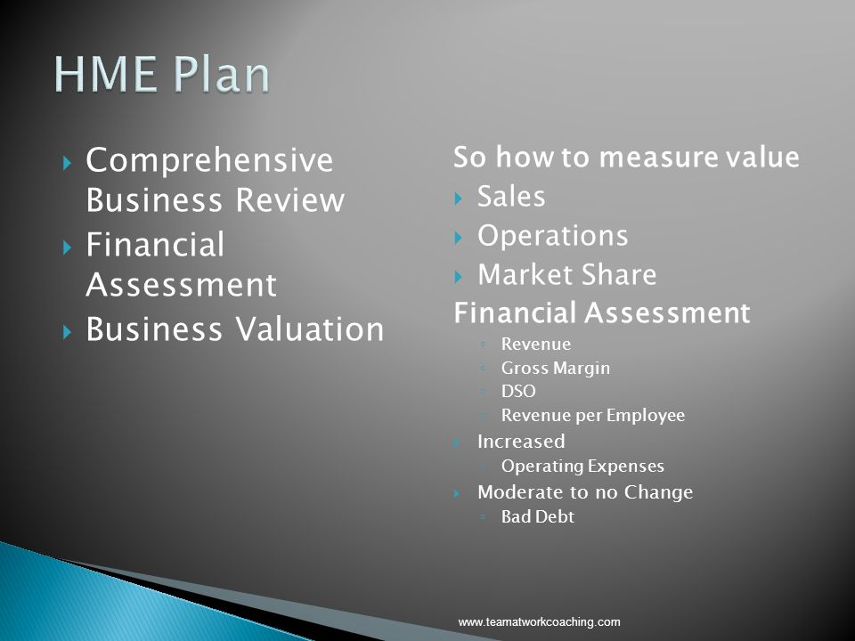 Comprehensive Business Review Financial Assessment Business Valuation So how to measure value Sales Operations Market Share Financial Assessment Reven