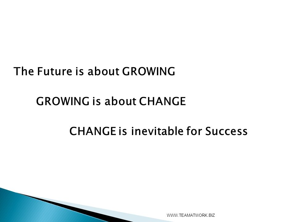 The Future is about GROWING GROWING is about CHANGE CHANGE is inevitable for Success WWW.TEAMATWORK.BIZ