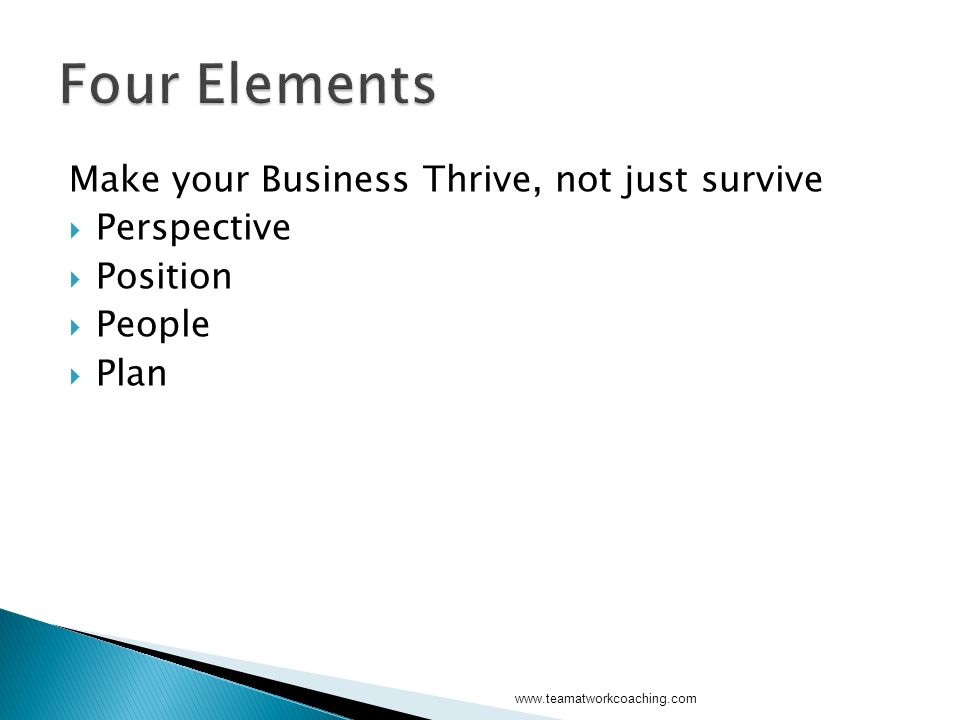 Make your Business Thrive, not just survive Perspective Position People Plan www.teamatworkcoaching.com