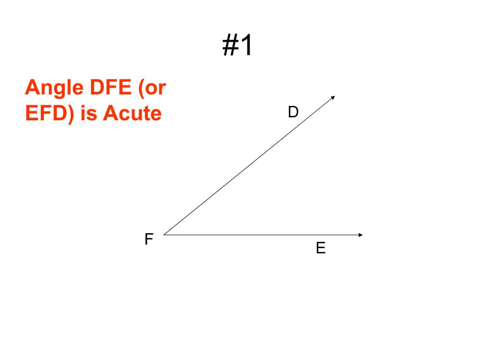 #1 D E F Angle DFE (or EFD) is Acute
