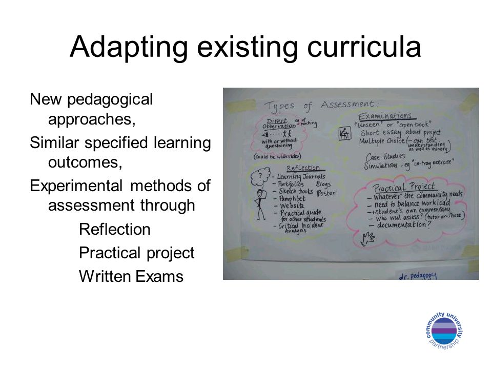 Adapting existing curricula New pedagogical approaches, Similar specified learning outcomes, Experimental methods of assessment through Reflection Pra