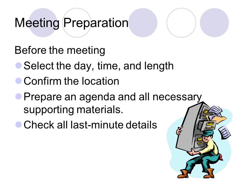 Meeting Preparation Before the meeting Select the day, time, and length Confirm the location Prepare an agenda and all necessary supporting materials.