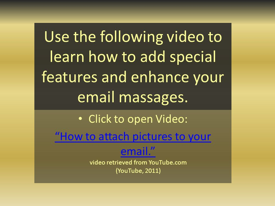 Use the following video to learn how to add special features and enhance your  massages.