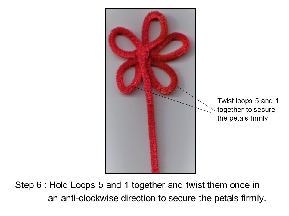 Step 6 : Hold Loops 5 and 1 together and twist them once in an anti-clockwise direction to secure the petals firmly. Twist loops 5 and 1 together to s