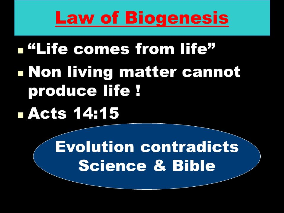 Law of Biogenesis Life comes from life Life comes from life Non living matter cannot produce life ! Non living matter cannot produce life ! Acts 14:15