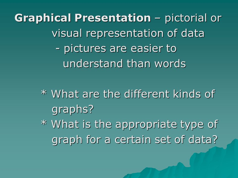 Graphical Presentation – pictorial or visual representation of data visual representation of data - pictures are easier to - pictures are easier to understand than words understand than words * What are the different kinds of * What are the different kinds of graphs.