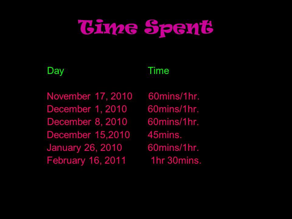 Time Spent Day Time November 17, 2010 60mins/1hr. December 1, 2010 60mins/1hr. December 8, 2010 60mins/1hr. December 15,2010 45mins. January 26, 2010