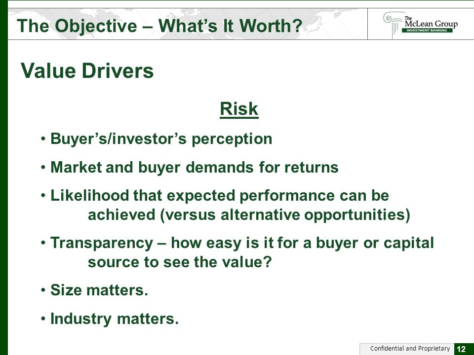Confidential and Proprietary Value Drivers The Objective – Whats It Worth.