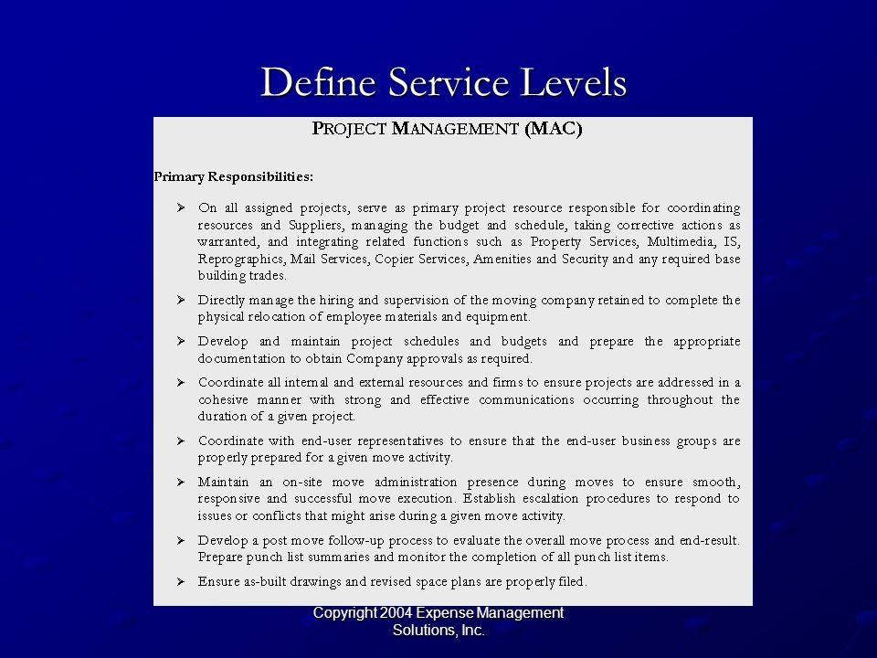 Copyright 2004 Expense Management Solutions, Inc. Define Service Levels Define Service Levels