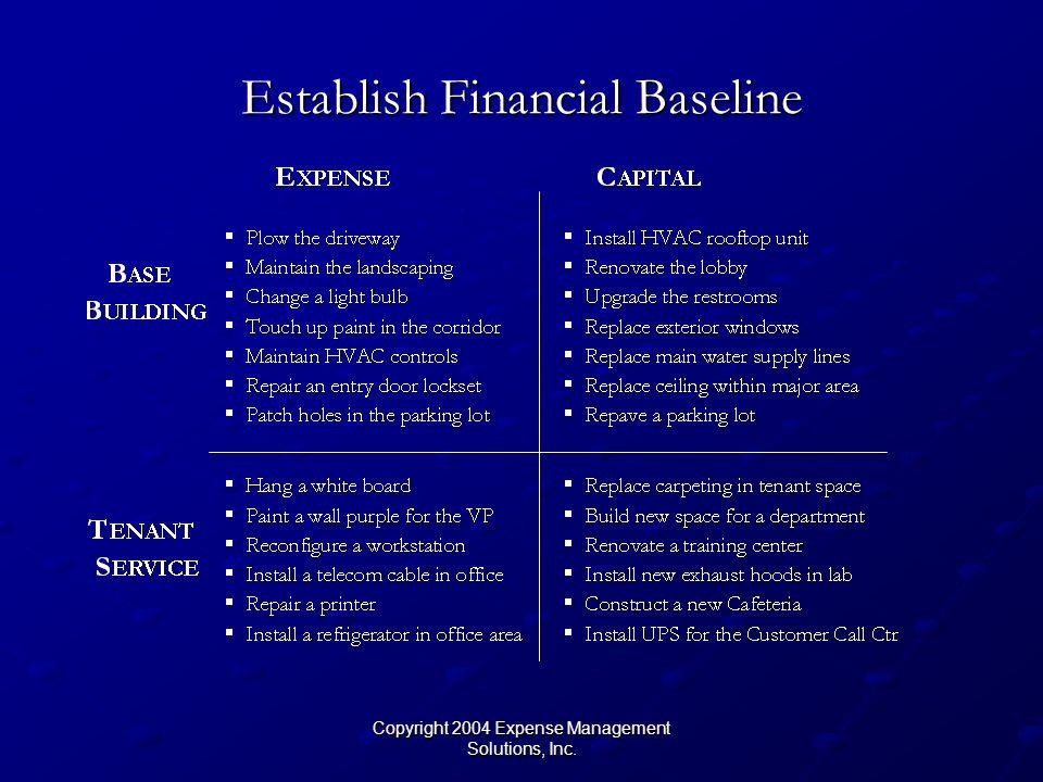 Copyright 2004 Expense Management Solutions, Inc. Establish Financial Baseline