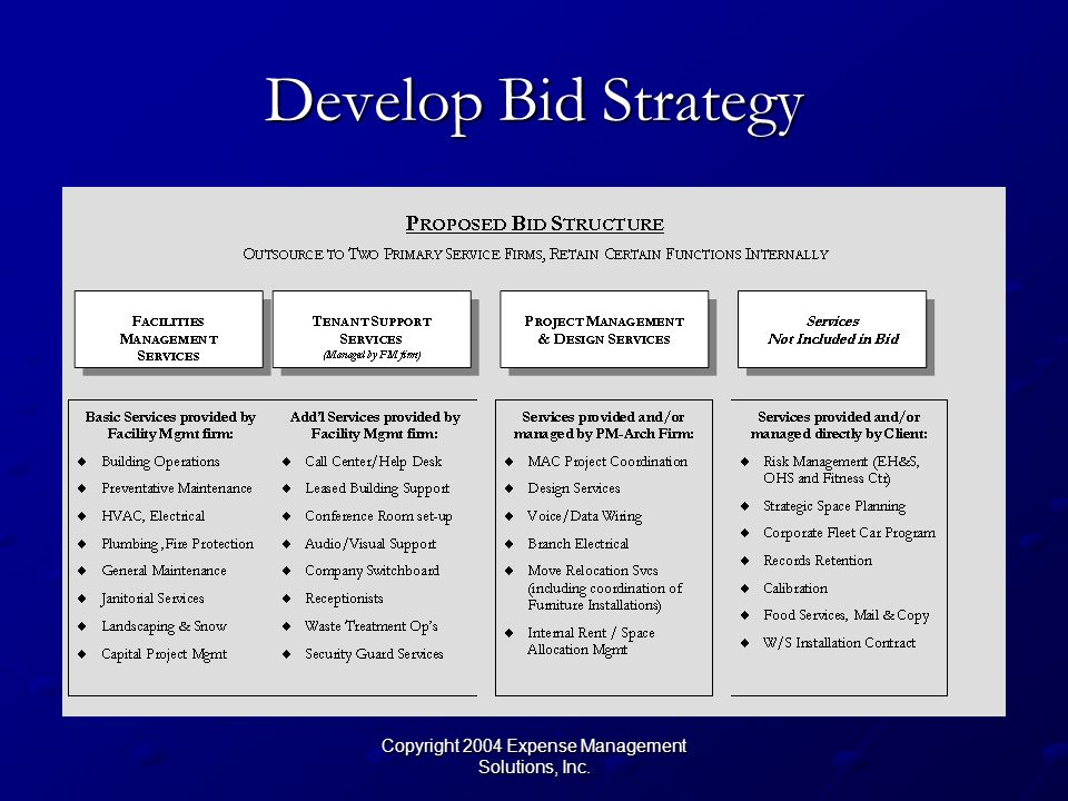Copyright 2004 Expense Management Solutions, Inc. Develop Bid Strategy