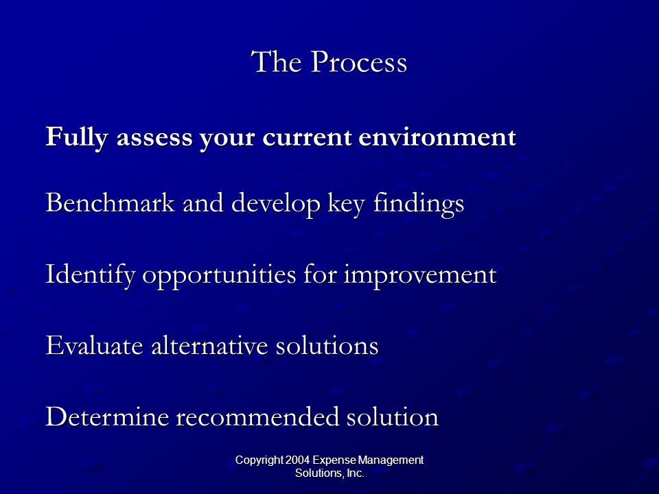 Copyright 2004 Expense Management Solutions, Inc. Benchmark Current vs. Market Comps