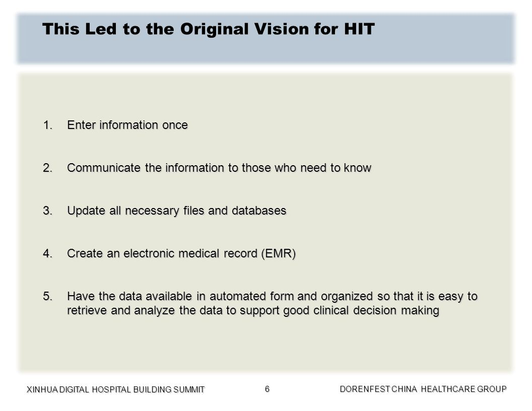 XINHUA DIGITAL HOSPITAL BUILDING SUMMIT DORENFEST CHINA HEALTHCARE GROUP 6 This Led to the Original Vision for HIT 1.Enter information once 2.Communic