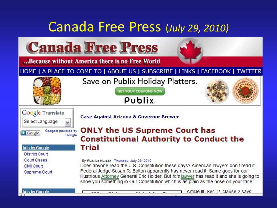 Canada Free Press (July 29, 2010)