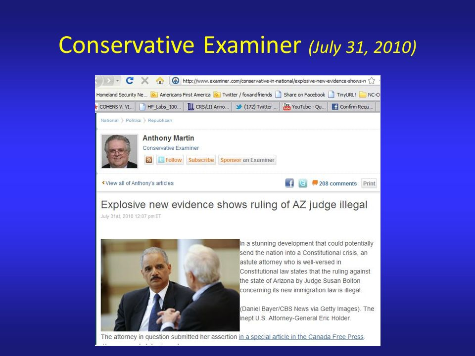 Conservative Examiner (July 31, 2010)