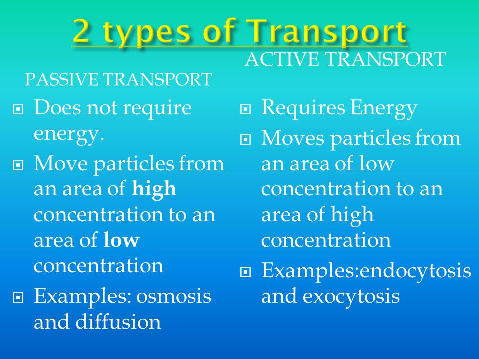 PASSIVE TRANSPORT ACTIVE TRANSPORT Does not require energy. Move particles from an area of high concentration to an area of low concentration Examples