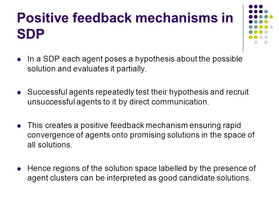 Positive feedback mechanisms in SDP In a SDP each agent poses a hypothesis about the possible solution and evaluates it partially.