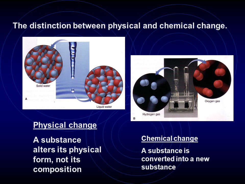 Physical change A substance alters its physical form, not its composition Chemical change A substance is converted into a new substance The distinctio