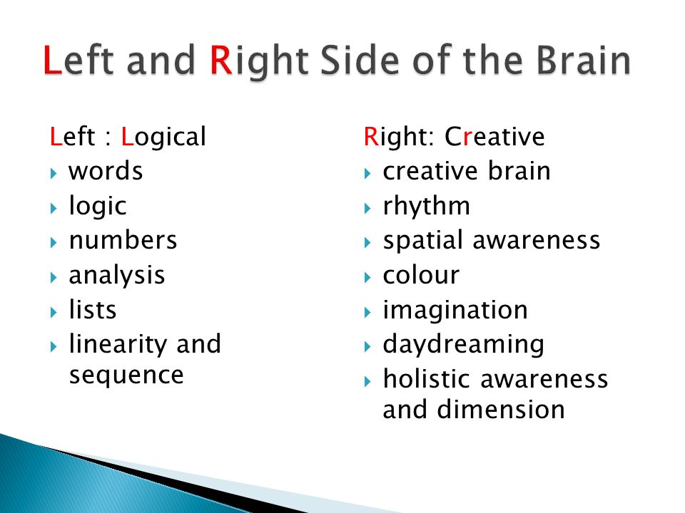 Left : Logical words logic numbers analysis lists linearity and sequence Right: Creative creative brain rhythm spatial awareness colour imagination da
