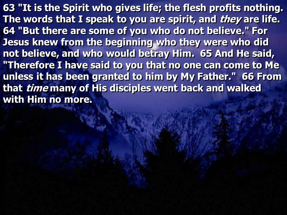 63 It is the Spirit who gives life; the flesh profits nothing.