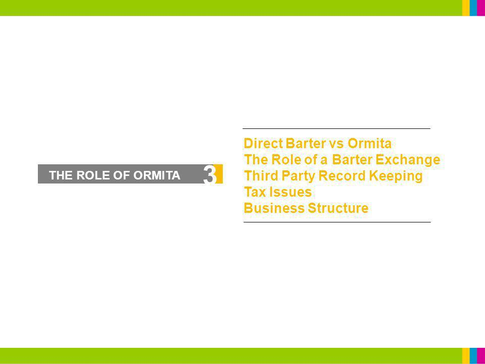 3 Direct Barter vs Ormita The Role of a Barter Exchange Third Party Record Keeping Tax Issues Business Structure THE ROLE OF ORMITA