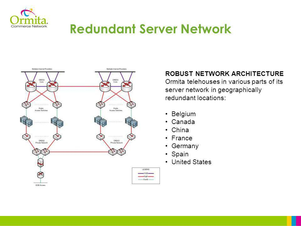 ROBUST NETWORK ARCHITECTURE Ormita telehouses in various parts of its server network in geographically redundant locations: Belgium Canada China France Germany Spain United States Redundant Server Network