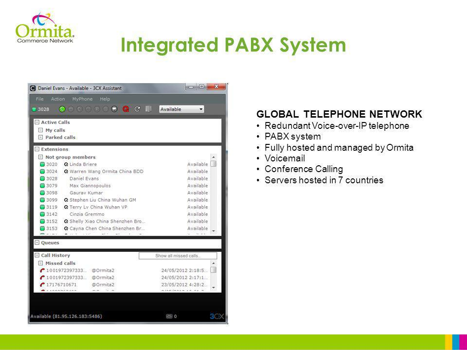 GLOBAL TELEPHONE NETWORK Redundant Voice-over-IP telephone PABX system Fully hosted and managed by Ormita Voicemail Conference Calling Servers hosted in 7 countries Integrated PABX System