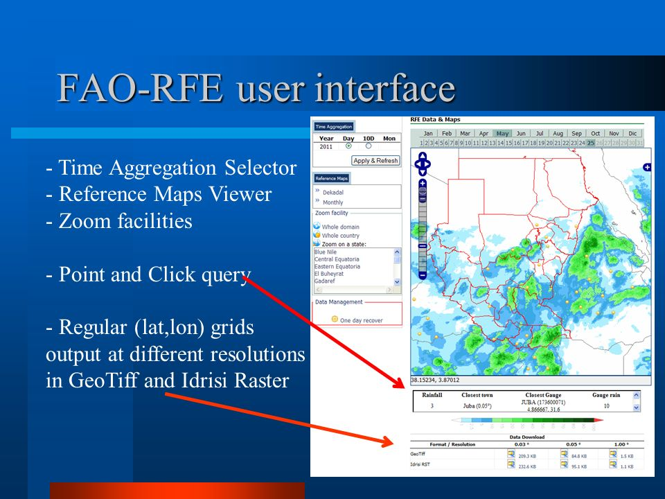 FAO-RFE user interface - Time Aggregation Selector - Reference Maps Viewer - Zoom facilities - Point and Click query - Regular (lat,lon) grids output at different resolutions in GeoTiff and Idrisi Raster