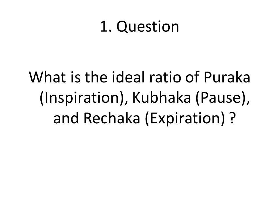 1. Question What is the ideal ratio of Puraka (Inspiration), Kubhaka (Pause), and Rechaka (Expiration) ?