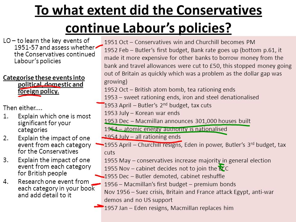 To what extent did the Conservatives continue Labours policies.