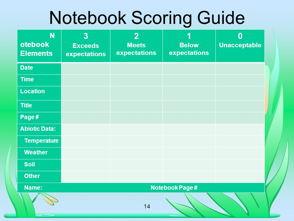 14 Notebook Scoring Guide N otebook Elements 3 Exceeds expectations 2 Meets expectations 1 Below expectations 0 Unacceptable Date Time Location Title