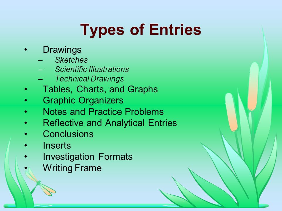 Types of Entries Drawings –Sketches –Scientific Illustrations –Technical Drawings Tables, Charts, and Graphs Graphic Organizers Notes and Practice Pro