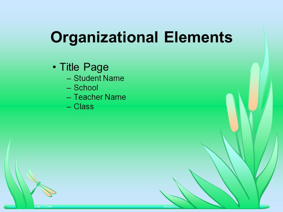 Organizational Elements Title Page –Student Name –School –Teacher Name –Class