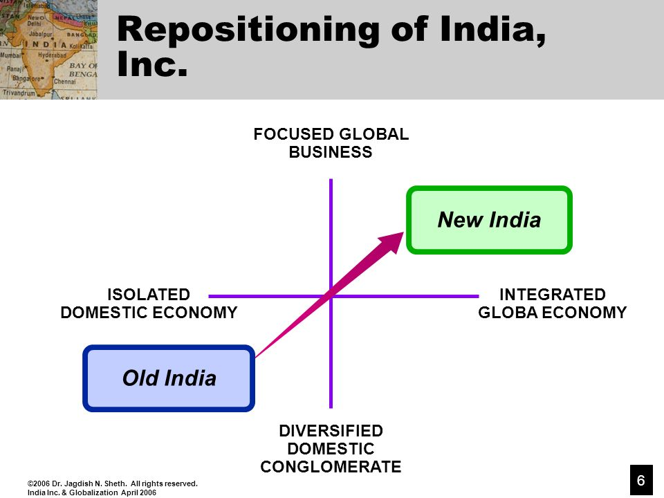 ©2006 Dr. Jagdish N. Sheth. All rights reserved. India Inc. & Globalization April 2006 6 Repositioning of India, Inc. FOCUSED GLOBAL BUSINESS INTEGRAT