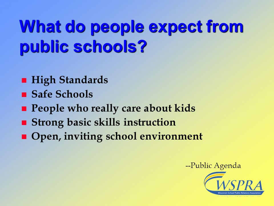 What do people expect from public schools? n High Standards n Safe Schools n People who really care about kids n Strong basic skills instruction n Ope
