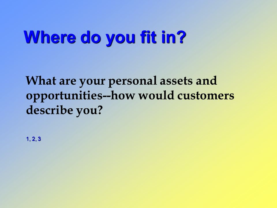Where do you fit in? What are your personal assets and opportunities--how would customers describe you? 1, 2, 3