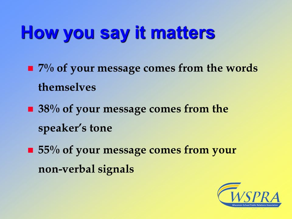 How you say it matters n 7% of your message comes from the words themselves n 38% of your message comes from the speakers tone n 55% of your message c