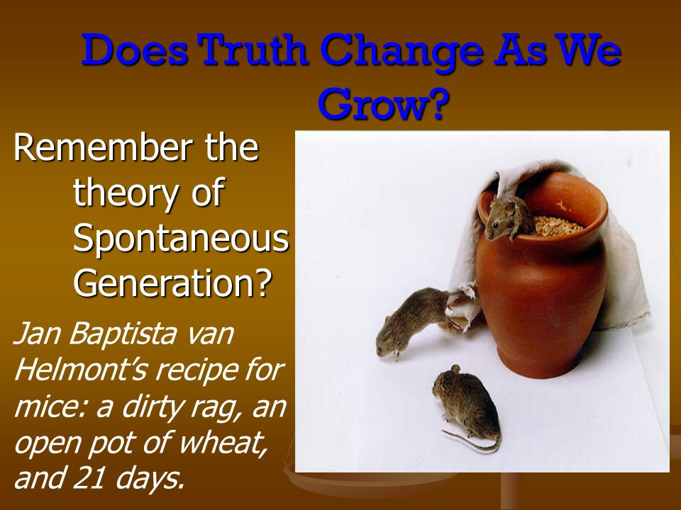 Does Truth Change As We Grow? Remember the theory of Spontaneous Generation? Jan Baptista van Helmonts recipe for mice: a dirty rag, an open pot of wh