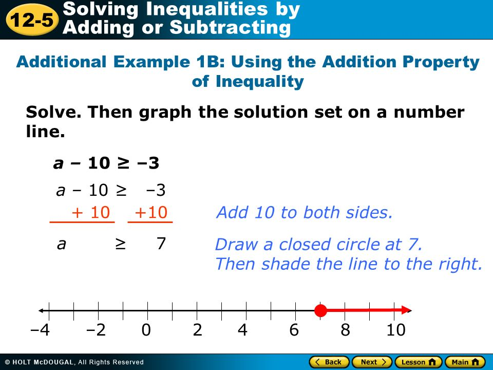 12-5 Solving Inequalities by Adding or Subtracting Solve.