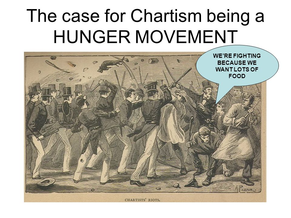 Chartism is about hunger because… Chartism grew in strength at the precise time the economy was undergoing recession In 1838-39 (the Peoples Charter and first petition), 1841-2 (Plug riots and second petition) and 1847-48 (Third petition), when bread prices were high – Chartism was strong at these times.