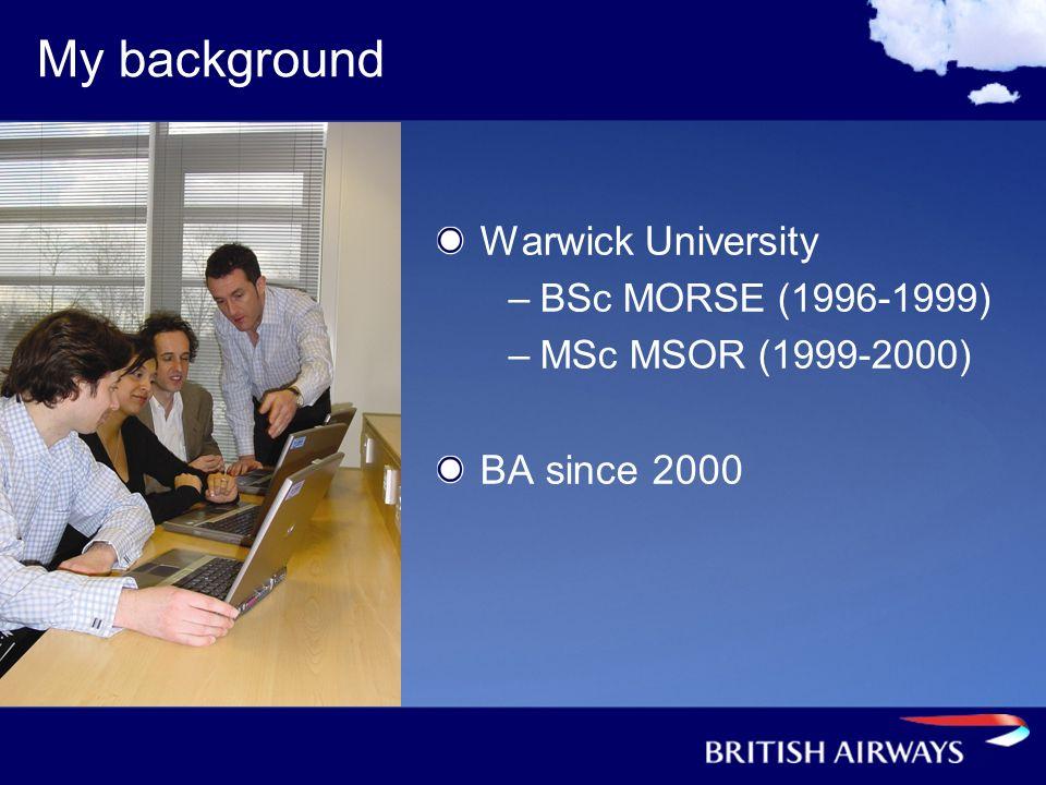 My background Warwick University –BSc MORSE (1996-1999) –MSc MSOR (1999-2000) BA since 2000